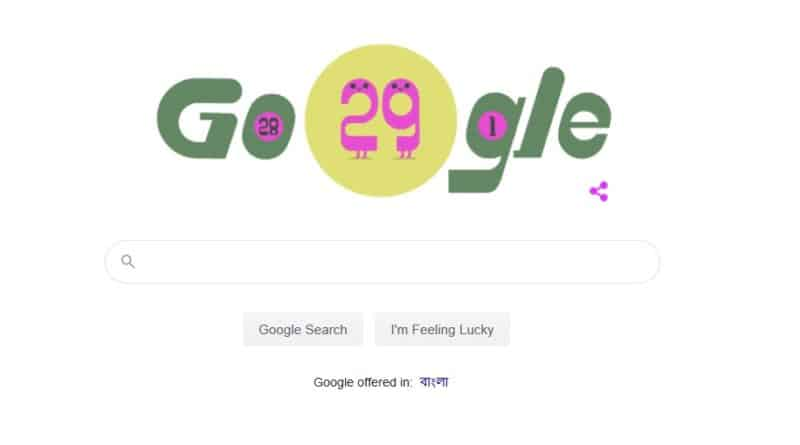 Google Doodle For Leap Year 29 February 2020