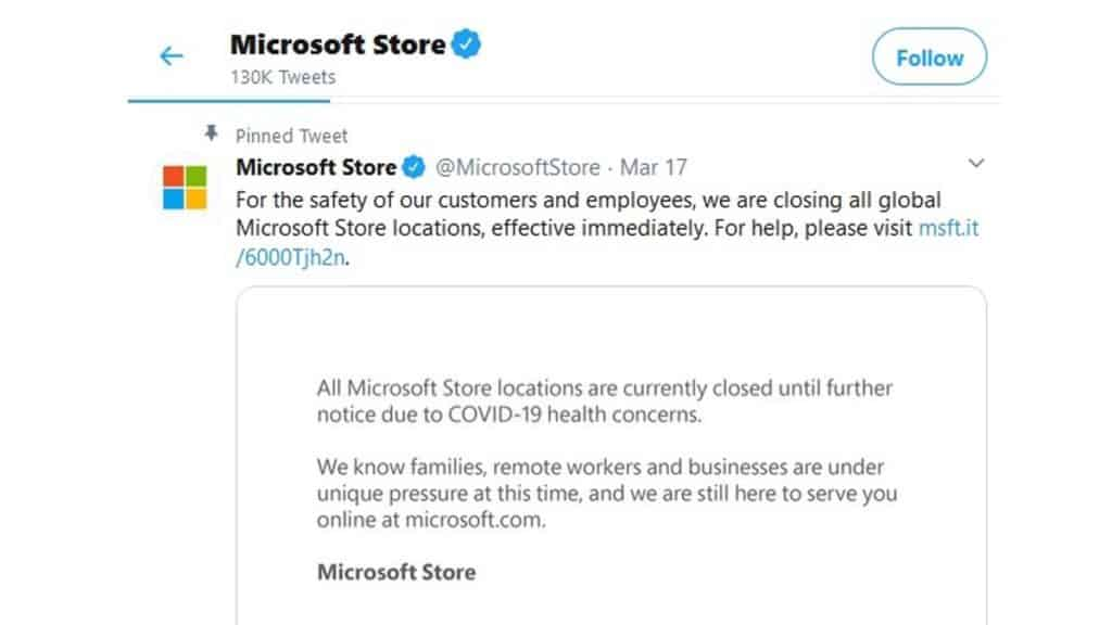 Due to the Coronavirus crisis Microsoft is closing its retail outlets