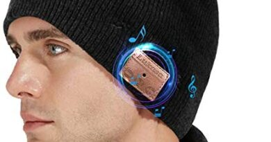 Lukasa Bluetooth Beanie Hat,Mens Gifts V5.0 Unisex Wireless Knit Cap Winter Warm Hats for Running Outdoor Sports with Stereo Headphone Speaker Unique Christmas Tech Gifts for Men Women(Black)