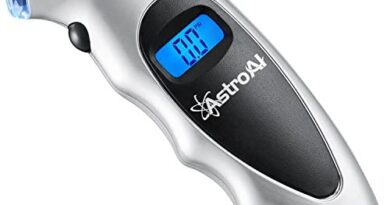 AstroAI Digital Tire Pressure Gauge 150 PSI 4 Settings for Car Truck Bicycle with Backlit LCD and Non-Slip Grip, Silver (1 Pack)
