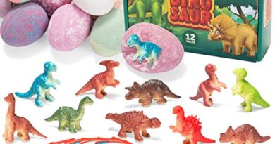 Bath Bombs for Kids with Dinosaur Toys, 12 Pack Bubble Bath Bombs with Surprise Toy Inside, Natural Essential Oil SPA Bath Fizzies Set, Kids Safe Birthday Gift Set for Boys and Girls