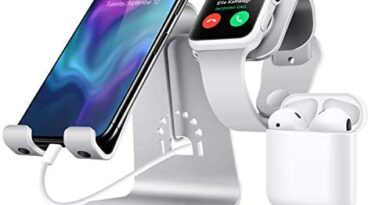 Bestand3 in 1 Apple iWatch Stand, Airpods Charger Dock, Phone Desktop Tablet Holder for Airpods, Apple Watch/ iPhone X/8 Plus/8/ 7 Plus/ iPad, Silver(Patenting, Airpods Charging Case NOT Included)