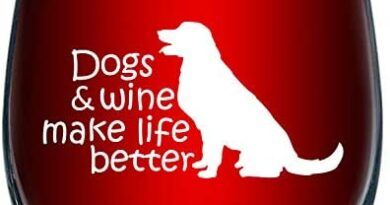 Dogs & Wine Make Life Better | Perfect Birthday Gift For Veterinarian, Dog Mom, Dog Dad, Animal Rescue or Vet Tech | Dog Lover Gifts For Men or Women | 15 Ounce Stemless Wine Glass
