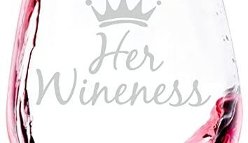 Her Wineness Funny Wine Glass - Best Mother's Day Gifts for Women, Mom - Unique Queen Gag Gift for Her - Cool Birthday Present Idea from Husband, Son, Daughter - Fun Novelty Glass for a Wife, Friend
