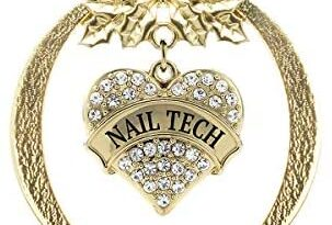 Inspired Silver - Nail Tech Charm Ornament - Gold Pave Heart Charm Holiday Ornaments with Cubic Zirconia Jewelry