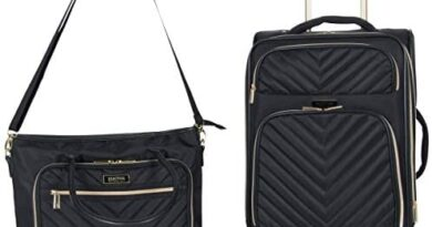 "Kenneth Cole Reaction Women's Chelsea 2-Piece 20"" Expandable 4-Wheel Carry-On Suitcase & Matching 15"" Laptop Tote, Black"