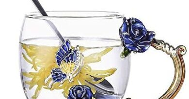 Luka Tech Enamels Butterfly flower Lead-free Glass Coffee Mugs Tea Cup with Steel Spoon, personalised Gifts For Women Wife Mom Friends Birthday Mothers Valentines Day Wedding (Blue)