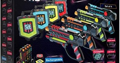 Rechargeable Laser Tag Set + Innovative LCDs and Sync – Pack of 4 Infrared Guns & Vests - Gifts for Teens and Adults Boys & Girls - Cool Outdoor Group Family Fun Laser Tag Gift for Kids Ages 8+