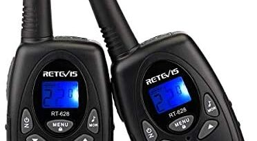 Retevis RT628 Walkie Talkie for Kids,Toys for 3-12 Year Old Boys Girls,VOX Portable 2 Way Radios Long Range for Outdoor Adventure Game(Black,2 Pack)