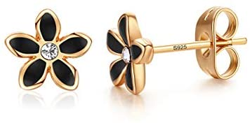 Stud Earrings, Red Ladybug Black Spots 18K Gold Plated 925 Sterling Silver Post Rose Flower Stud Earrings for Women and Girl
