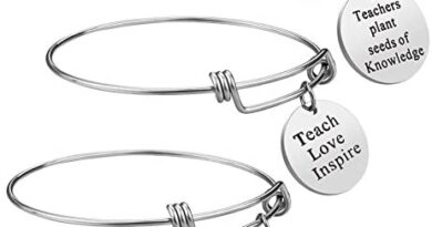 Teacher Appreciation Gift Idea - 3PCS Stainless Steel Expendable Inspirational Bangle Bracelet Set, Best Teacher Jewelry, Thank You Gifts for Women, Christmas Birthday