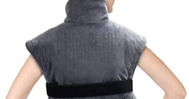 Tech Love Neck Heating Pad Electric Shoulder Heat Wrap with Auto Shut Off and Continuous on, Large Moist Heated Pads, Charcoal Gray