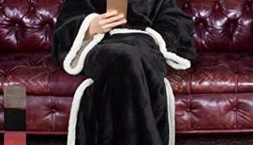 "Tirrinia Sherpa Wearable Blanket for Adult Women and Men, Super Soft Comfy Warm Plush Throw with Sleeves TV Blanket Wrap Robe Cover for Sofa, Couch 72"" x 55"" Black"