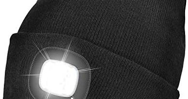 Unisex LED Beanie Hat with Light, USB Rechargeable Winter Knit Lighted Headlight Hats Headlamp Cap Gift for Men and Women (Black)