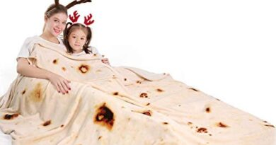 mermaker Burritos Tortilla Blanket 2.0 Double Sided 60 inches for Adult and Kids, Giant Funny Realistic Food Throw Blanket, 285 GSM Novelty Soft Flannel Taco Blanket (Yellow Blanket-Double Sided)